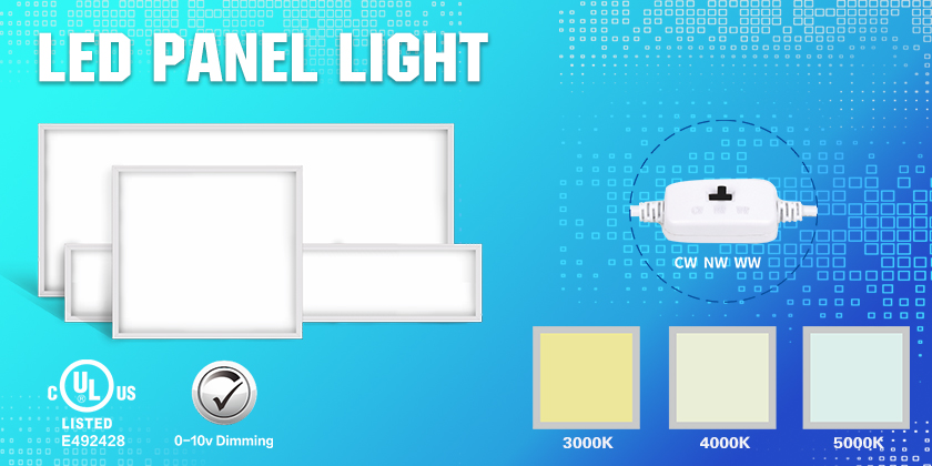Crep panel light with CCT changeable & 0-10v dim function pass UL&DLC certification